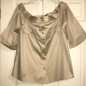 Michael Kors sand tan Off-Shoulder Button Shirt L